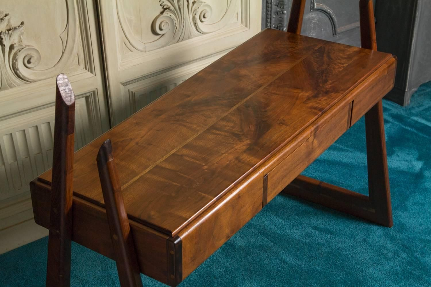 1960s Walnut Writing Desk | From a unique collection of antique and modern desks and writing tables at https://www.1stdibs.com/furniture/tables/desks-writing-tables/