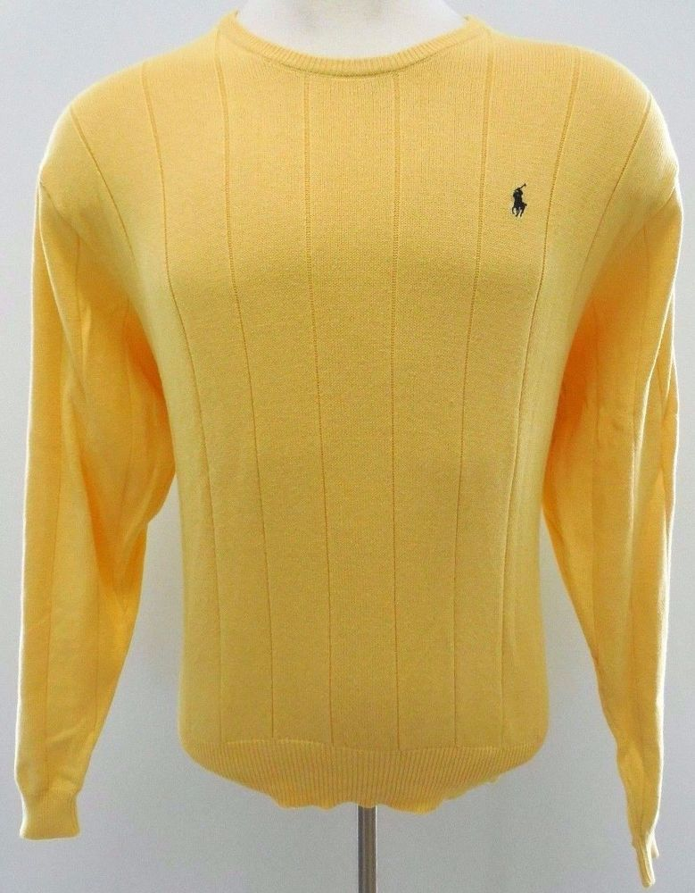 POLO Ralph LAUREN Sweater LARGE Yellow KNIT Cotton MENS Size PONY ...