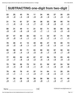 Subtraction Math Worksheets Subtracting One Digit Numbers From Two Digit Numbers 6 Kids Math Worksheets Subtraction Worksheets Math Multiplication Worksheets