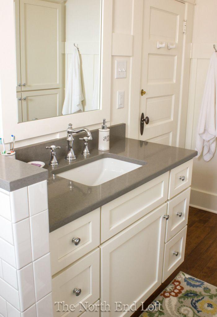 Home Tour Grey Countertops White Bathroom Cabinets Quartz