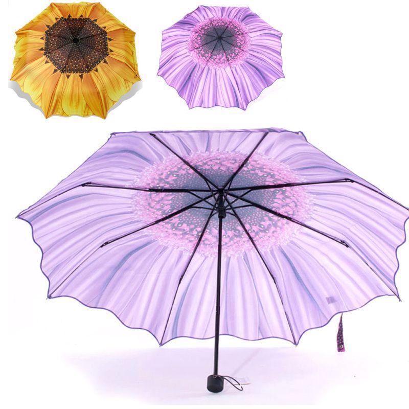 Purple Butterfly Automatic Tri-Fold Umbrella Parasol Sun Umbrella Sunshade