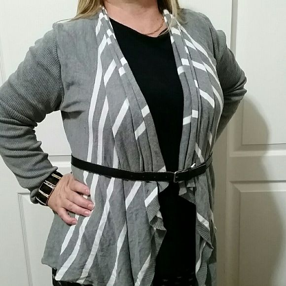 Long sleeve Cardigan grey and white stripes Cardigan. Lightly worn. Second picture shows some fuz under the sleeve. The belt is not included. But you can bundle if you want it and I can list it for you :) Sweaters Cardigans