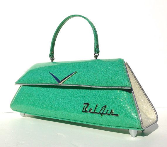 Bel Air Mint & White. Couture Vintage Car inspired Handbag. Handmade in the USA by RevampProductions, $350.00