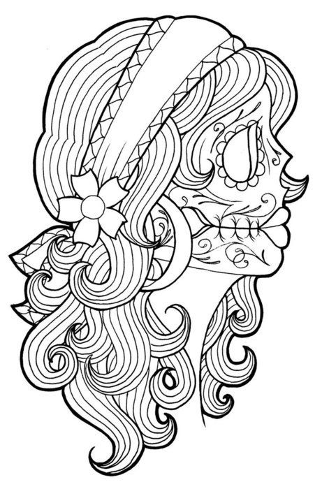 Day Of The Dead Skulls Tattoo Ideas Pinterest Coloring Pages