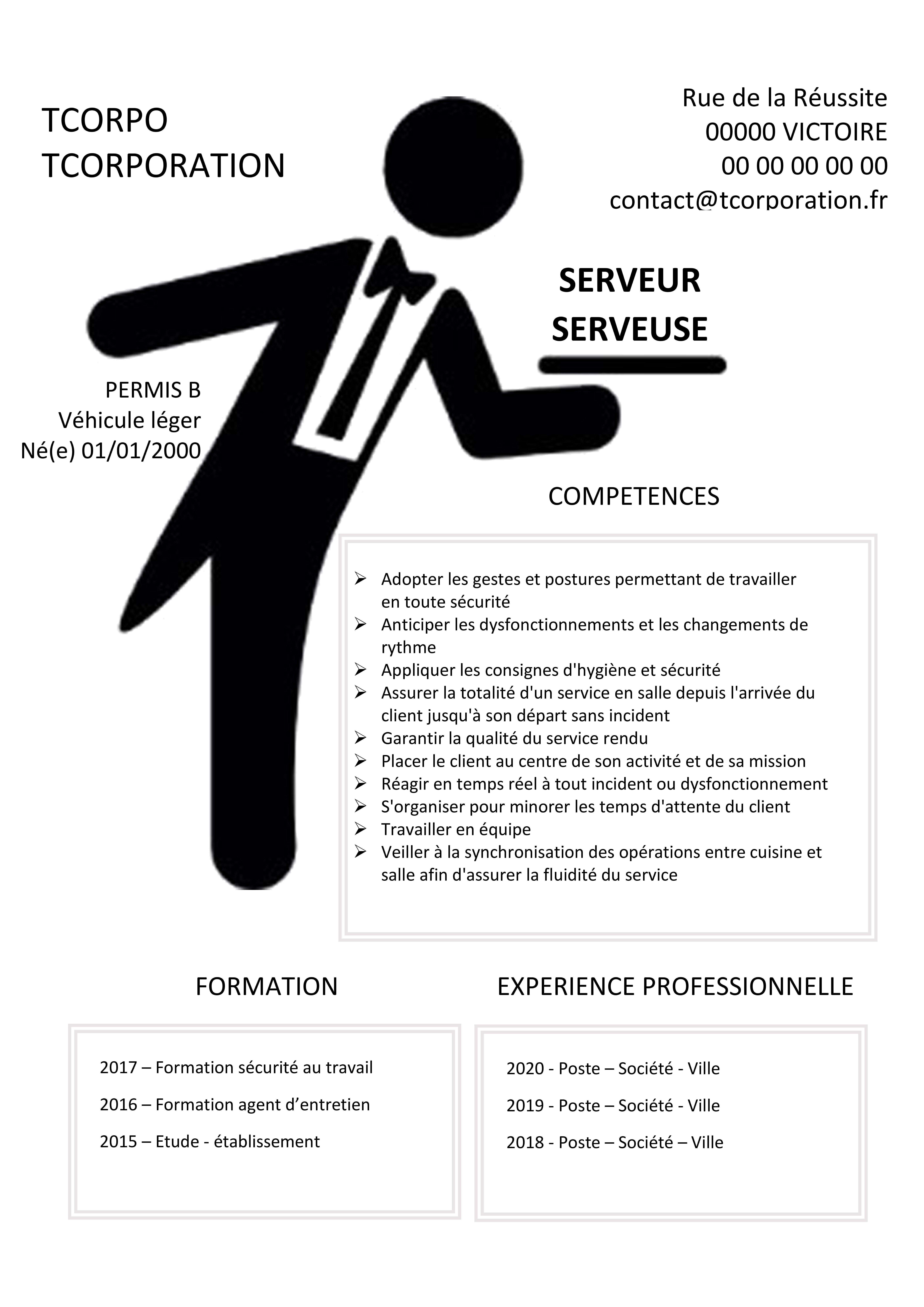 Serveur Serveuse Cv Experiences Professionnelles Formations Competences Gestes Et Postures Cv Simple Hygiene Et Securite