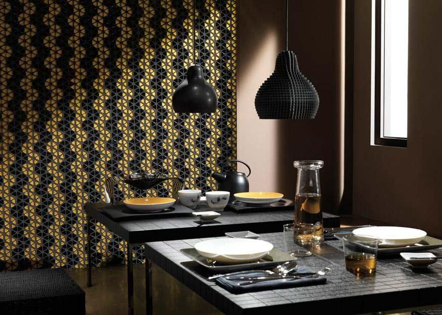 in dialoghi collection glass metal wood and stone mosaics meet each other creating an exciting dialogue between materials