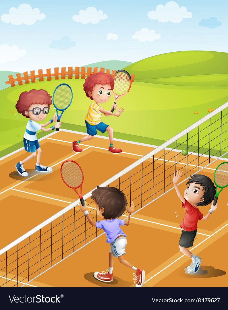 Children Playing Tennis At The Court Vector Image On Vectorstock Children Tennis Children Park