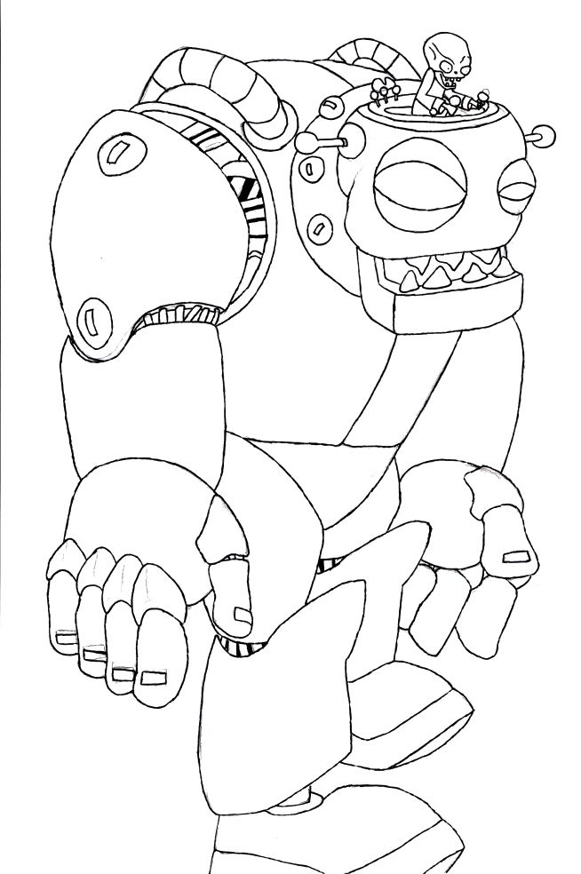 Coloring Page Halloween : The big zombie robot coloring pages halloween cartoon coloring