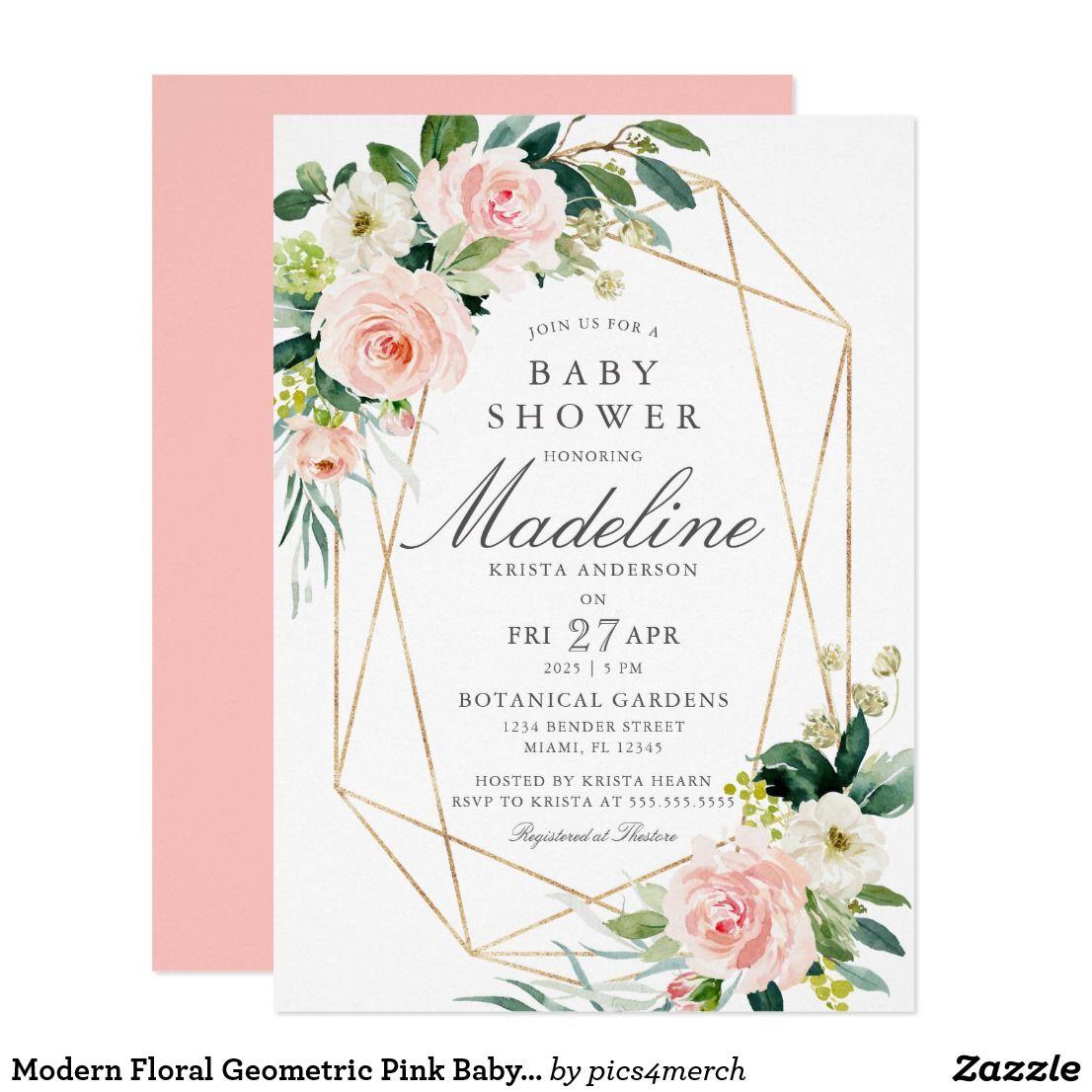 Modern Floral Geometric Pink Baby Shower Invitation Zazzle