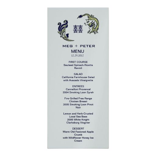 Modern DragonPhoenix Chinese Wedding Menu Custom Announcements