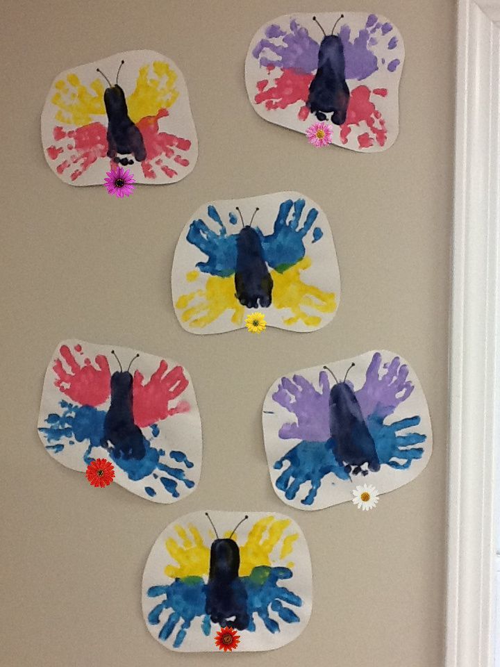 Hand print foot print butterflies stuff to do at work for Butterfly hands craft