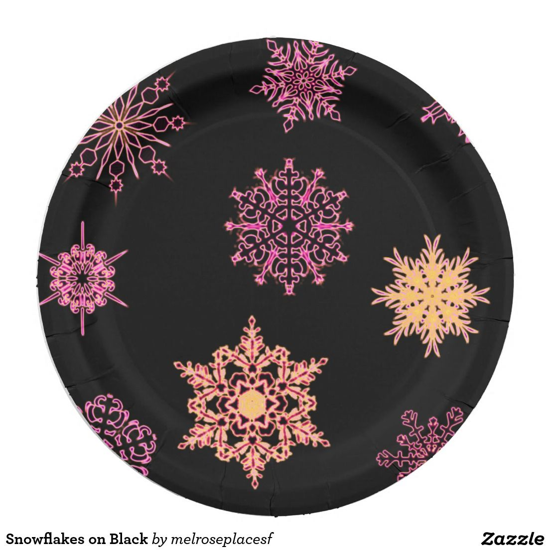 Snowflakes on Black Paper Plate