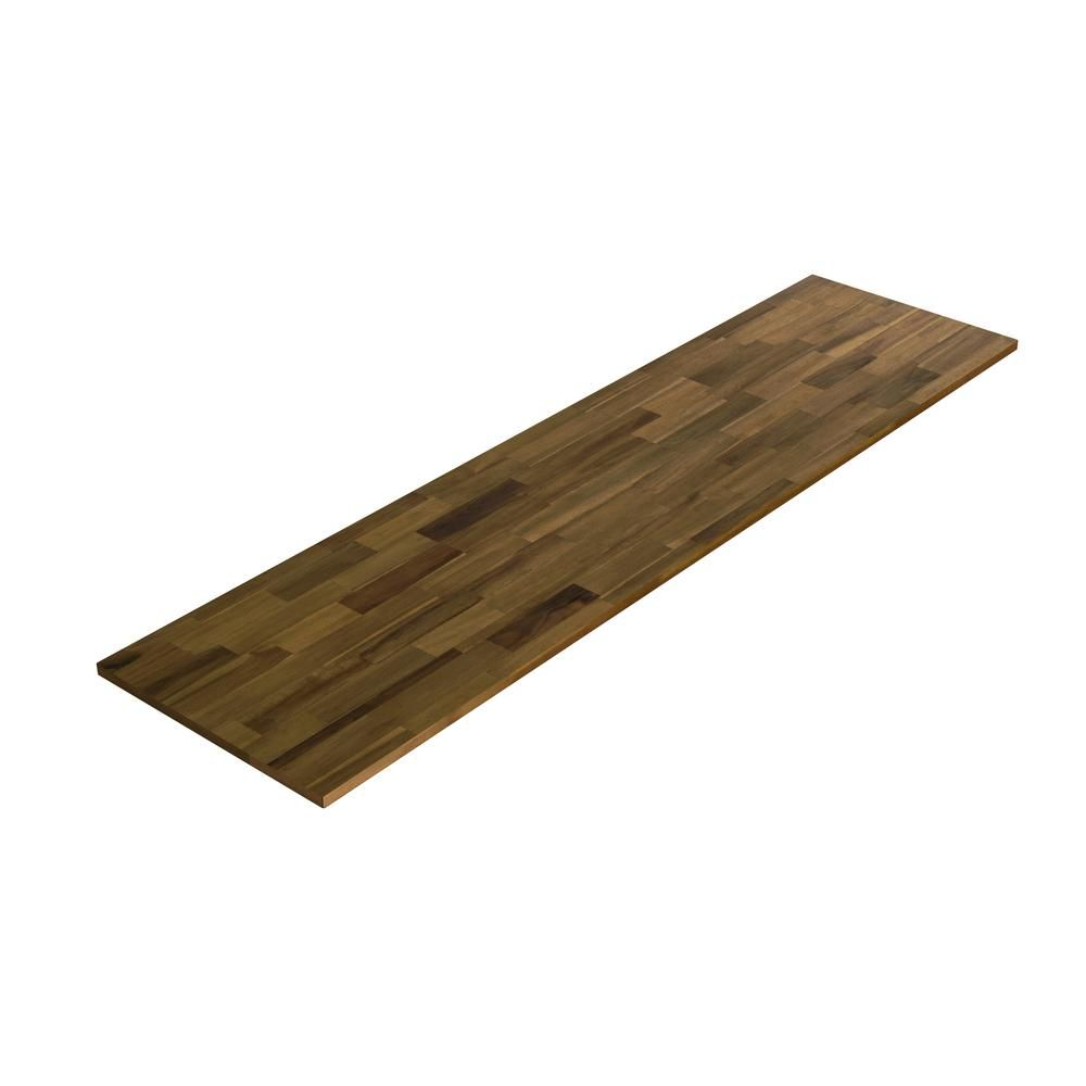 Interbuild Acacia 6 Ft L X 25 In D X 1 5 In T Butcher Block Countertop In Brown Oil Stain Pnl03003 The Home Depot Butcher Block Countertops Hardwood Countertops Butcher Block