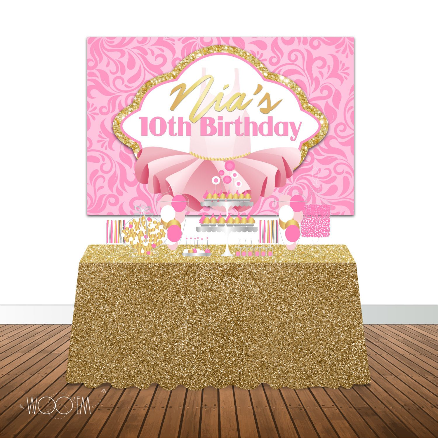 tutu themed birthday 6x4 candy buffet table banner backdrop