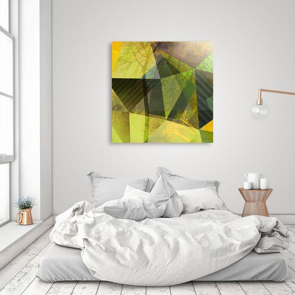 Curioos | Exclusive Art Prints by the world's finest Digital Artists #art #kunst #geometric,#trees #polygons #triangles #yellow #green #gray #gold #goldocker #piaschneider #modern #artprints #kunstdrucke #limitededitions