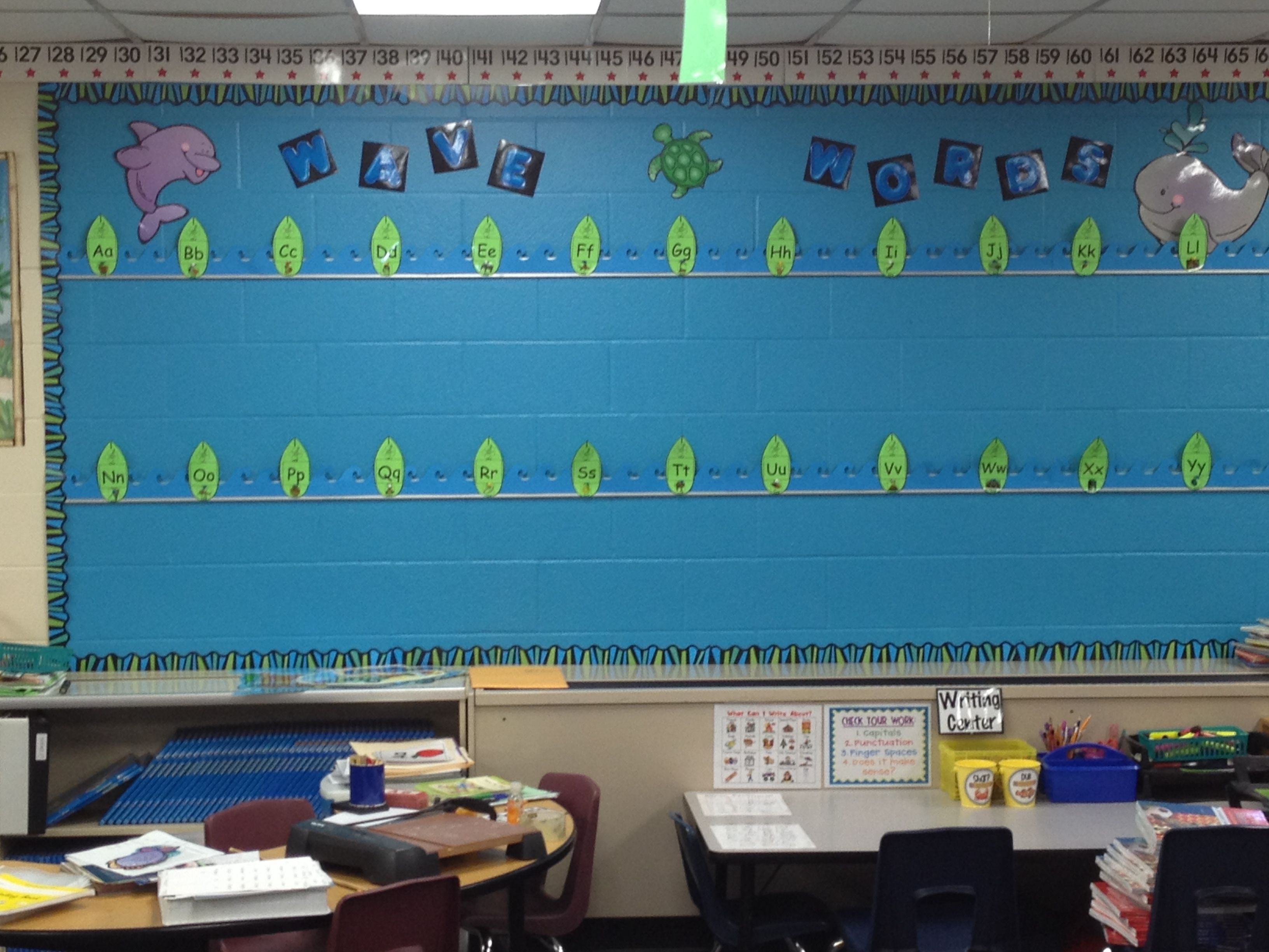 My word wall in my classroom goes with my beach theme. We ...