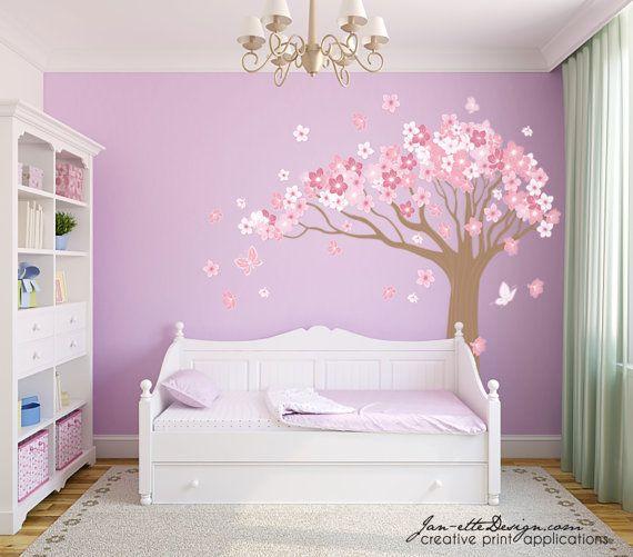 Tree Wall Decallarge Cherry Blossom Tree Wall Stickergirl Etsy Girl Bedroom Walls Girl Bedroom Decor Kid Room Decor