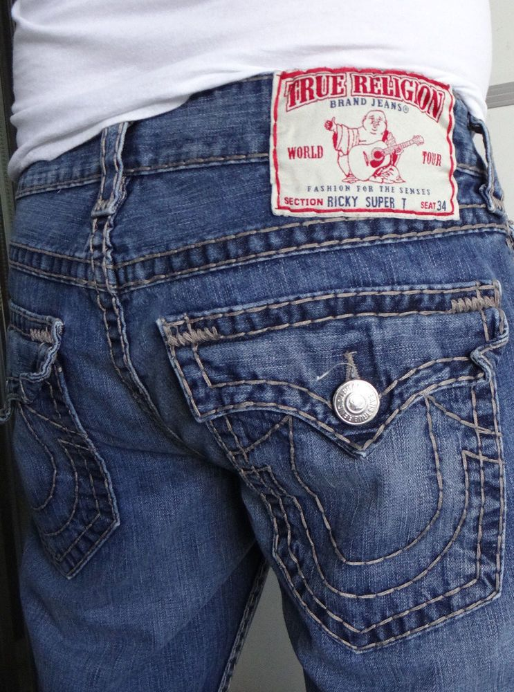 True Religion Men Jeans Ricky Super T Thick Stitch Button Flap ...