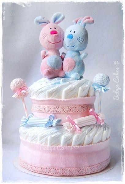 Gâteau De Couches Bio Twins Candy Rabbit Doudou Gâteau De