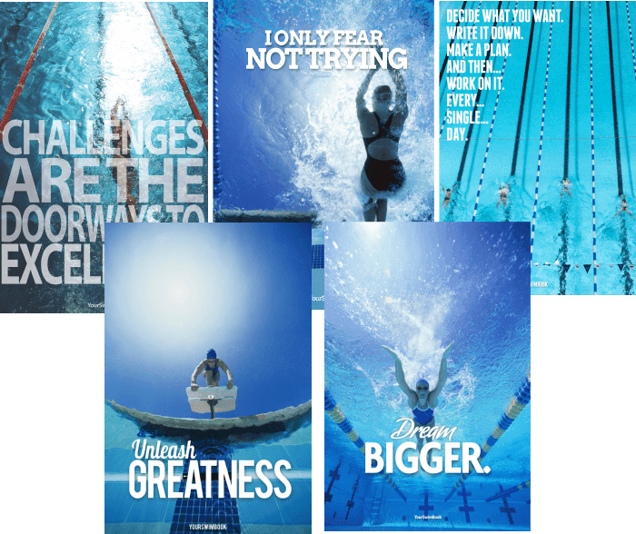 Motivation Swimming Work Hard Determination Quote Poster Sport Pool Passion