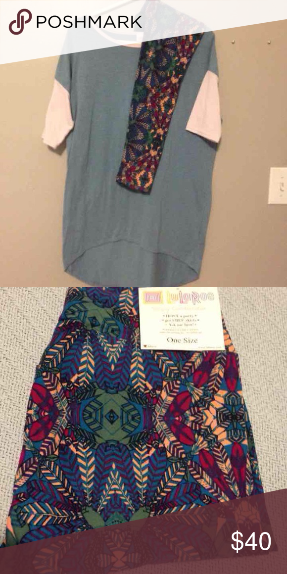 5c935f7b7f7896 Lularoe XS irma and NWT turkey feather leggings! XS irma light blue with  pink collar and arms. Light piling. OS turkey feather leggings brand new  with tag.