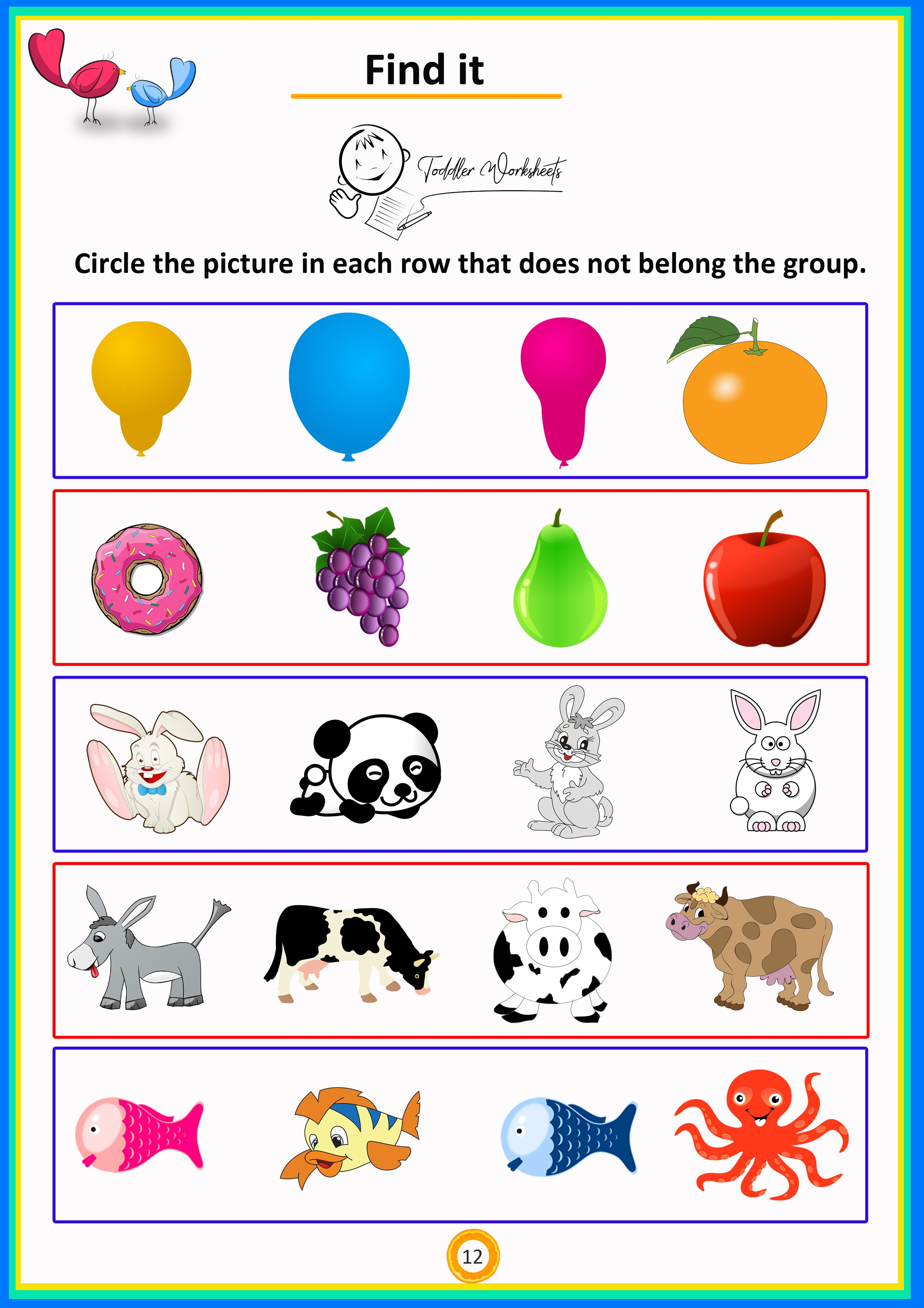 Find It 4 Preschool Toddler Math Worksheets Free Download With