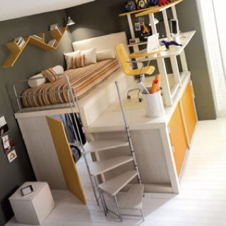 Bed And Desk On Top And Closet Underneath Loft Spaces