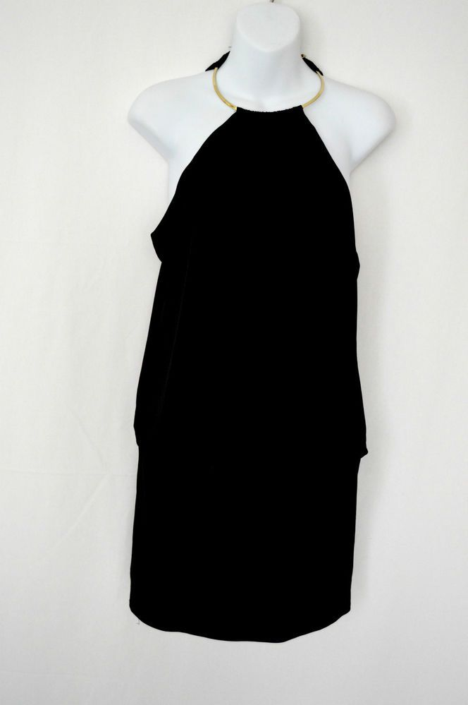 A little black dress with a little gold neck! $195 Laundry Shelli Segal Little Black Dress Halter Mini Gold Coil Neck Club 10