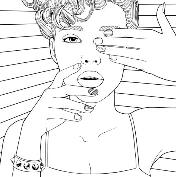 Coloring pages for adults app ~ Cool Chick colouring page | Recolor app | Beautiful Women ...
