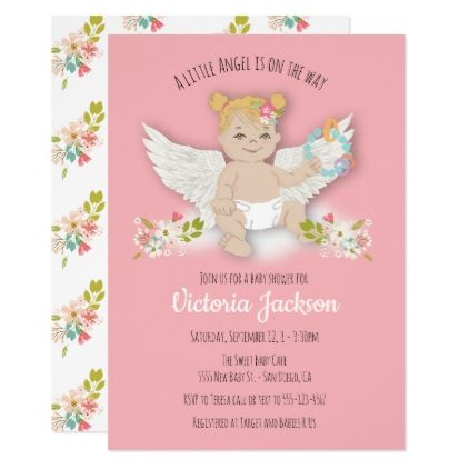 Blonde Little Angel Baby Shower Invitations Gifts Child New Born Gift Idea Diy Cyo