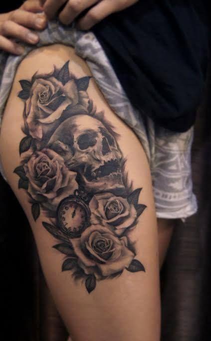 Tatuajes De Rosas Y Sangre Buscar Con Google Rose Tattoo Thigh Thigh Tattoo Trendy Tattoos