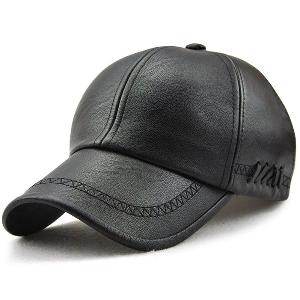1fedb56bab4 YOYEAH Classic Plain Adjustable Leather Baseball Cap Sports Outdoor Panel  Hat For Men Women Dark Brown