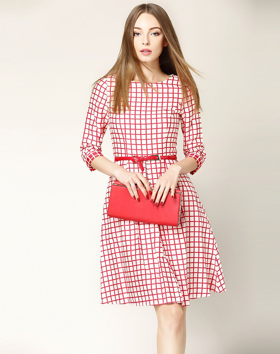 Adorewe vipme aline dresses nexiia red sleeve plaid a line
