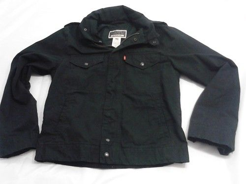 Levi's Commuter Hooded Trucker Jacket Black Denim Levis Jacket Size Small