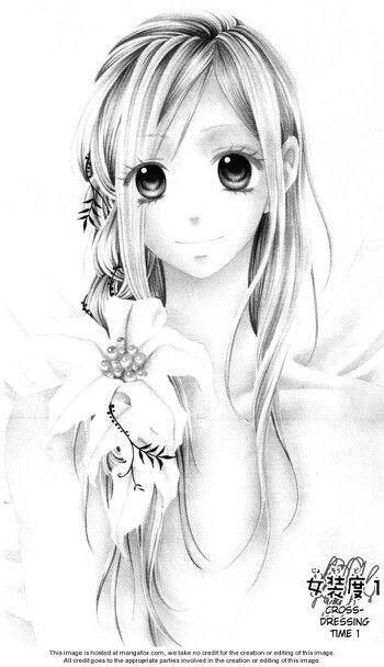 manga fille cheveux longs fleur manga pinterest cheveux longs manga et longues. Black Bedroom Furniture Sets. Home Design Ideas