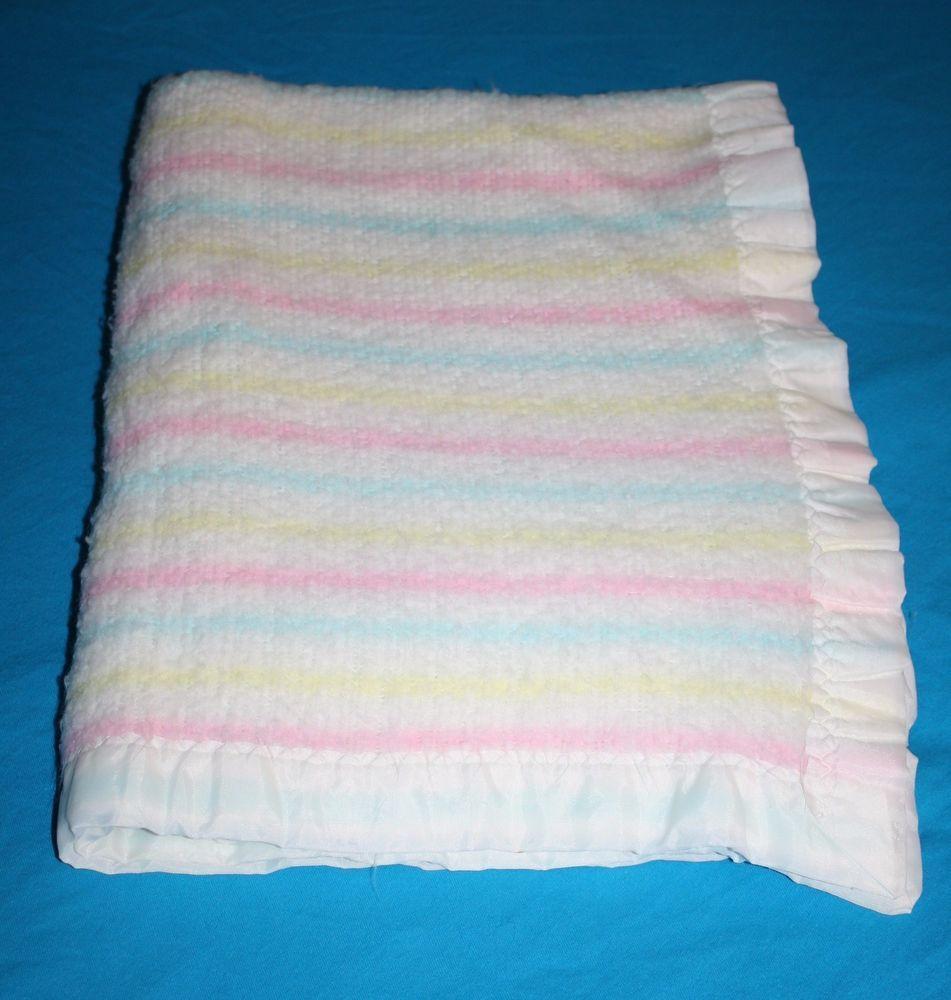 Vintage Acrylic Pastel Pink Blue Yellow Striped Nylon