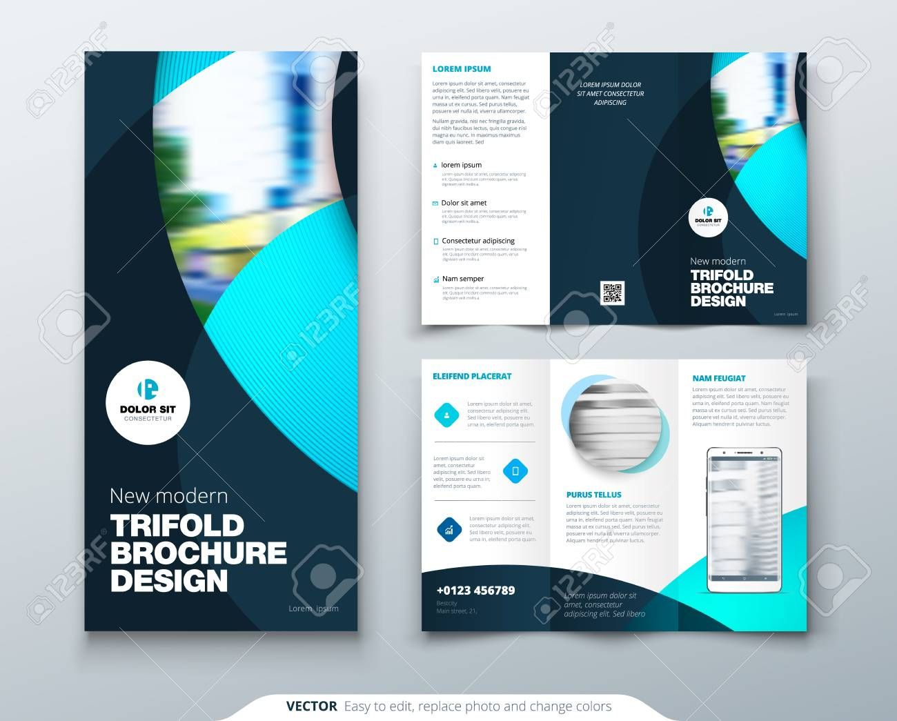 Tri Fold Brochure Design With Circle Corporate Business Template Within Fold Over Business Brochure Design Template Trifold Brochure Design Brochure Design