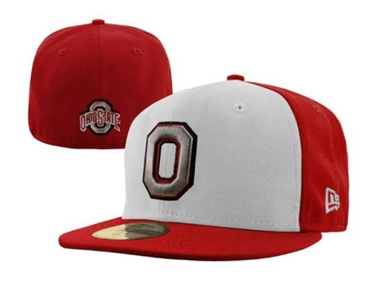 942795eb875 Ohio State Buckeyes White-Scarlet 59Fifty Fitted Baseball Cap by NEW ERA x  NCAA