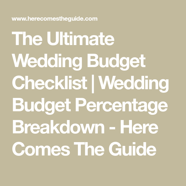 The Ultimate Wedding Budget Checklist Percentage Breakdown Here Comes Guide