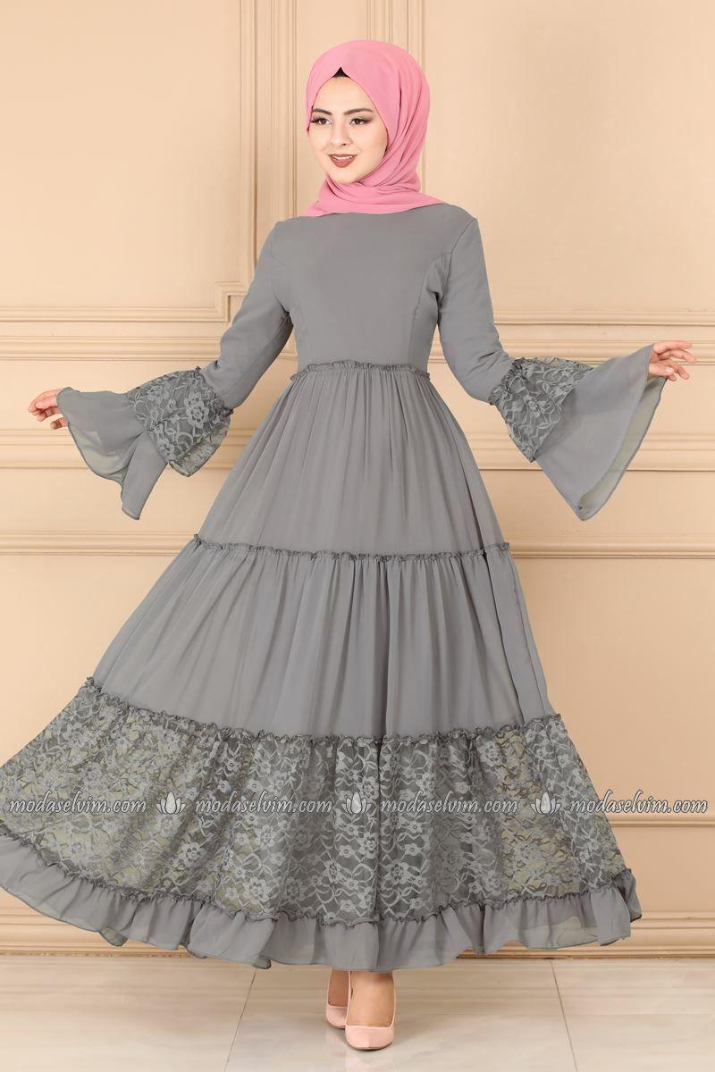 Moda Selvim Dantel Detay Elbise 81674bn105 Gri Moda Stilleri Elbise Moda