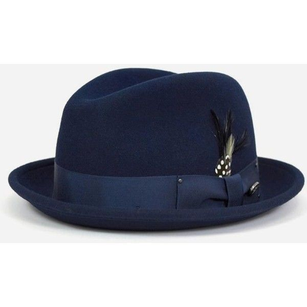 89387af8b457a Bailey Hats Bailey Tino Felt Crushable Trilby Hat - Navy ( 68) ❤ liked on  Polyvore