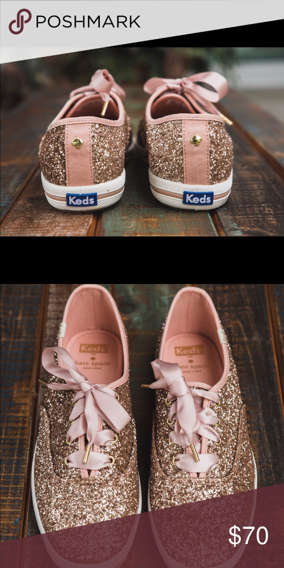 7395d5c3837e Kate Spade Rose Gold Keds Rose Gold keds with ribbon shoelaces with  optional regular shoe lace in box. Barely used