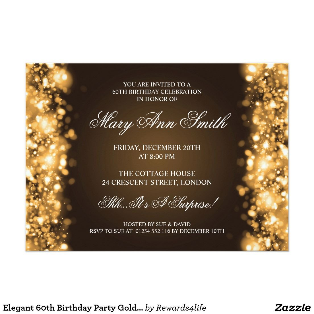 Elegant 60th birthday party gold sparkling lights dads 70th elegant wedding save the date lights blue paper invitation card bookmarktalkfo Gallery