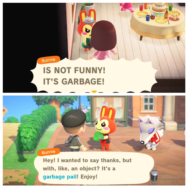 Don T Know If Anyone Remember The Post I Made About My Gf Giving Bunnie Garbage For Her Birthday B Animal Crossing Funny Animal Crossing Memes Animal Crossing