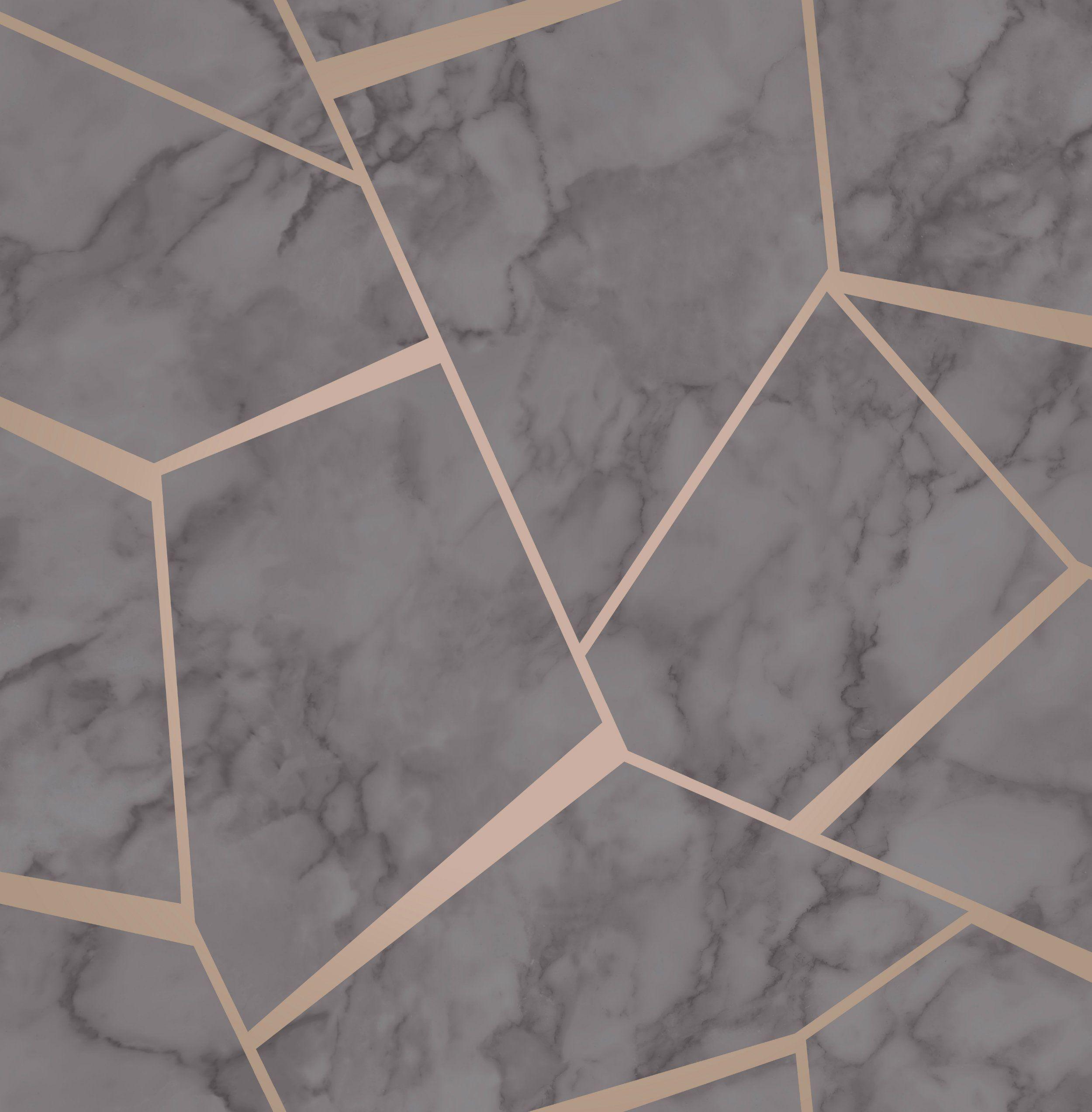 Fine Decor Wallpaper Fractal Marble Grey Rose Gold Fd42266