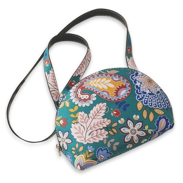 Paisley Print Zip Around Crossbody Bag Green 51 Brl Liked On Polyvore Featuring