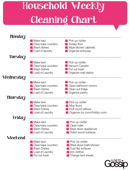Free Weekly Household Cleaning Checklist | future home | Pinterest ...