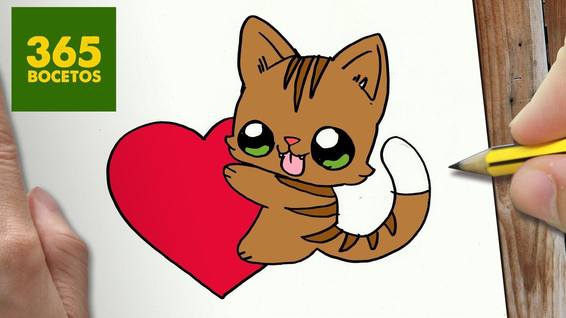 Como Dibujar Gato Y Corazon Kawaii Paso A Paso Dibujos Kawaii Faciles How To Draw A Cat Dibujos Kawaii Dibujos Kawaii Faciles Como Dibujar Un Gato