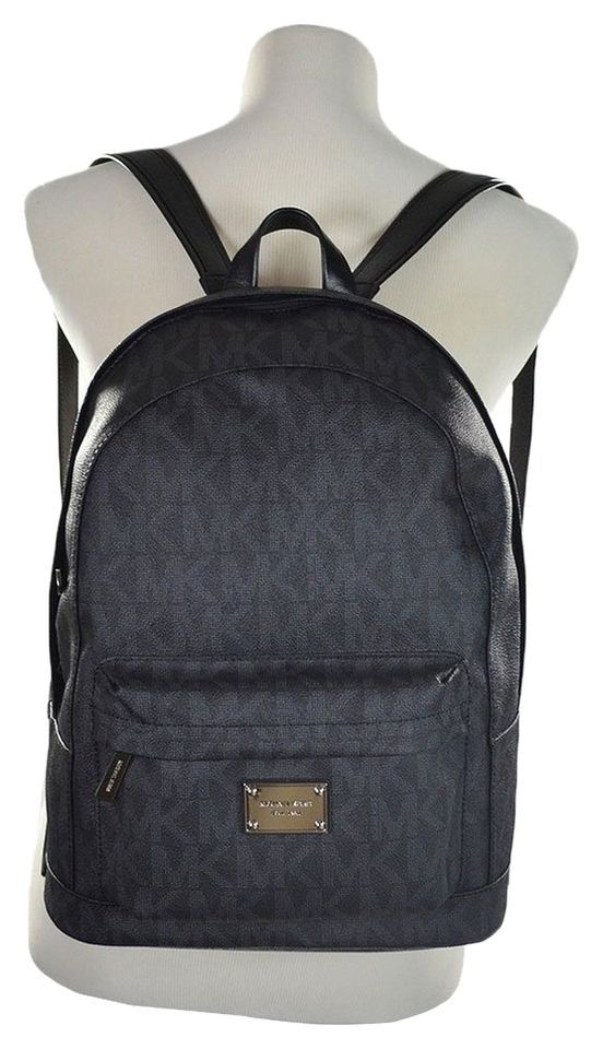a83fa7287036 Michael Kors Signature Print Jet Set Large Backpack Book Bag PVC Leather  Black #MichaelKors #BackpackStyle