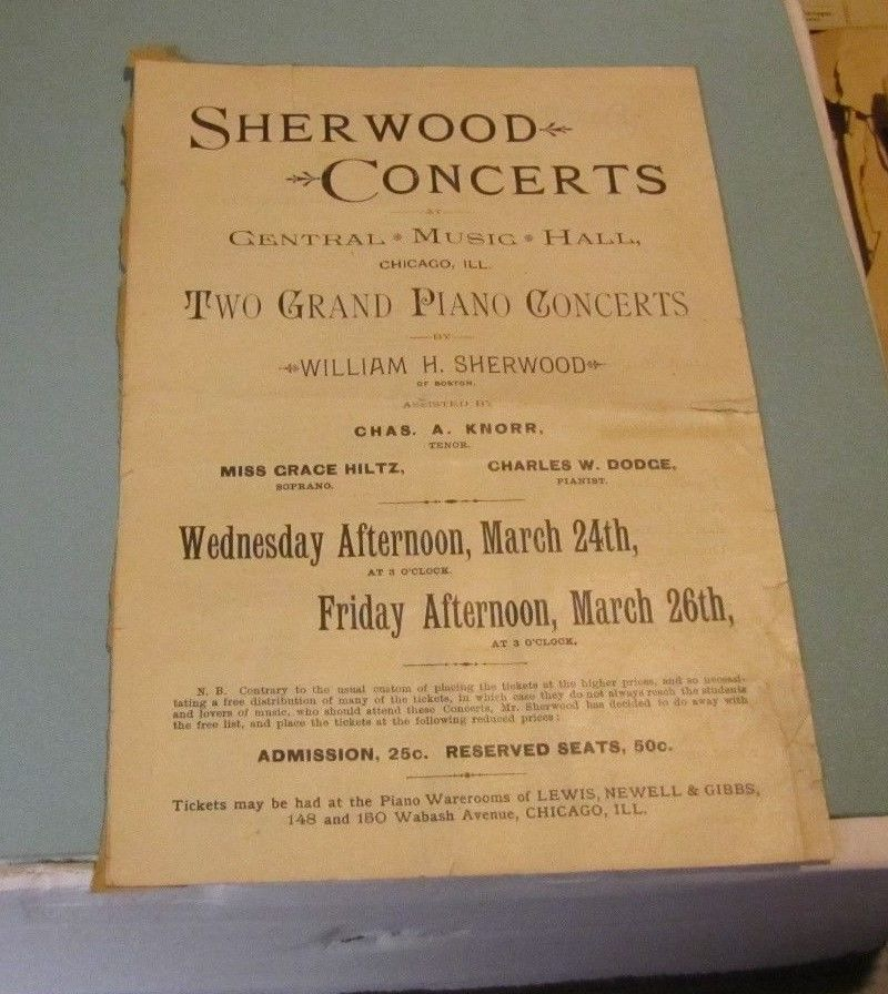 William Sherwood Grand Piano Concert Program Chicago Illinois